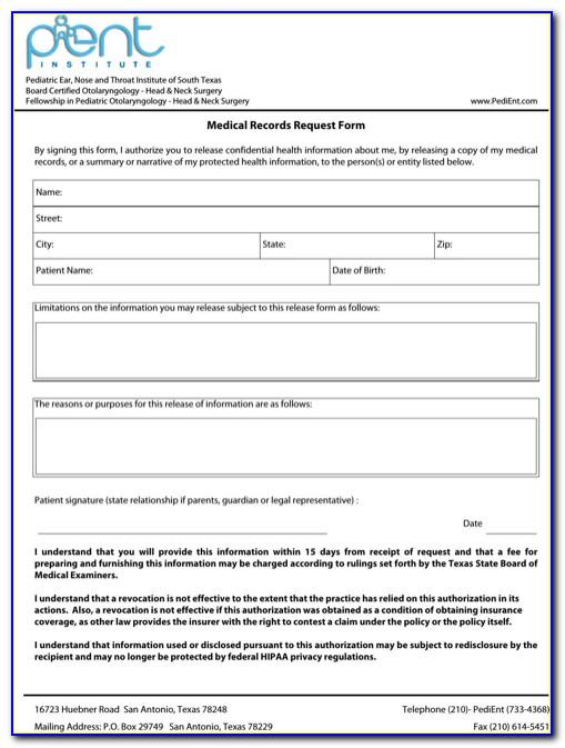 Medical Records Request Form Template Free