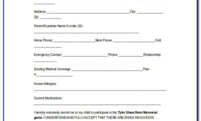 Medical Waiver Form For Sports