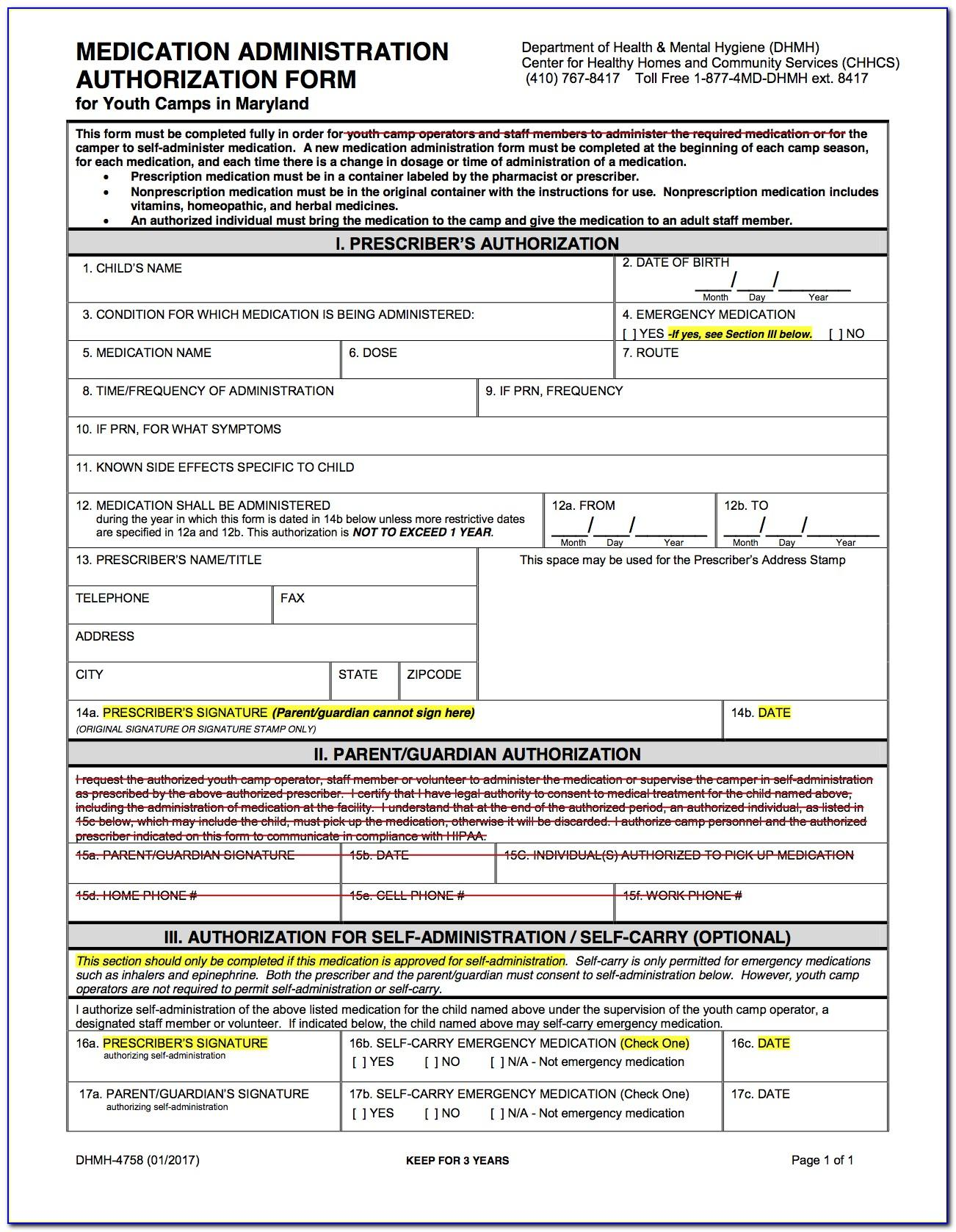 Medication Administration Form For Camp