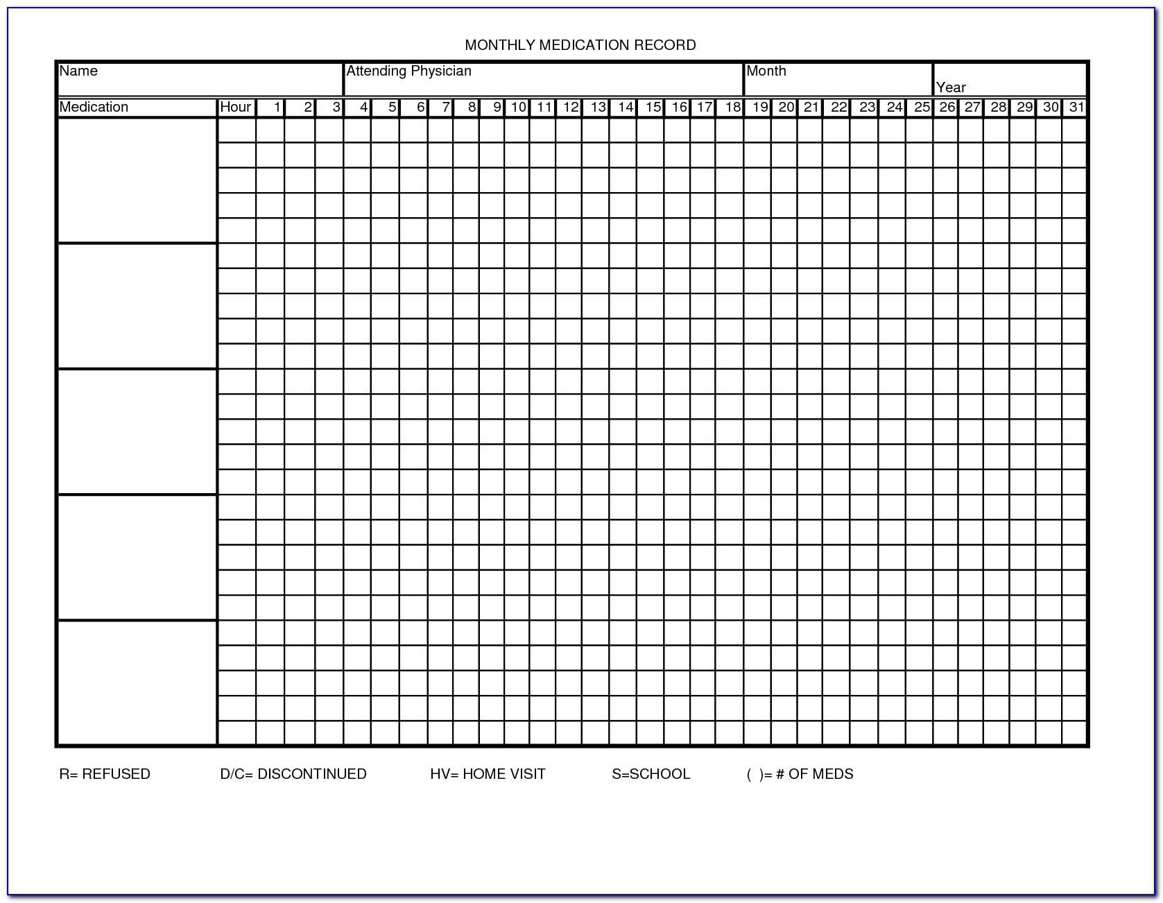 Medication Administration Record Template Uk