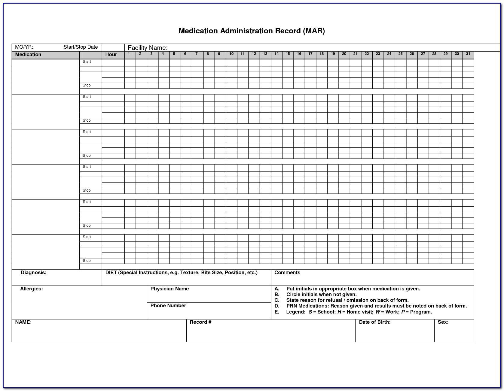 Medicine Administration Record Template