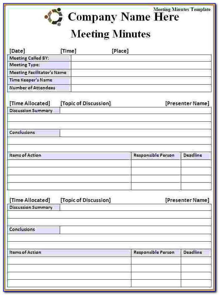 Meeting Minutes Form Doc