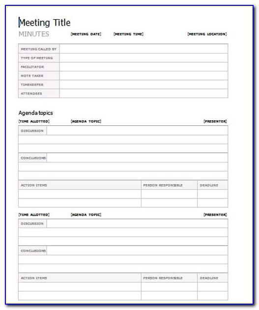 Meeting Minutes Format Template Pdf