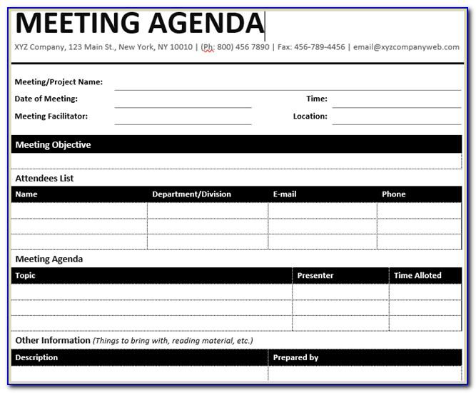 Meeting Minutes Template Doc Free