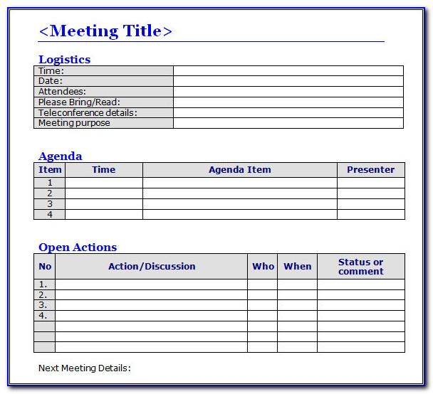 Meeting Minutes Template Format