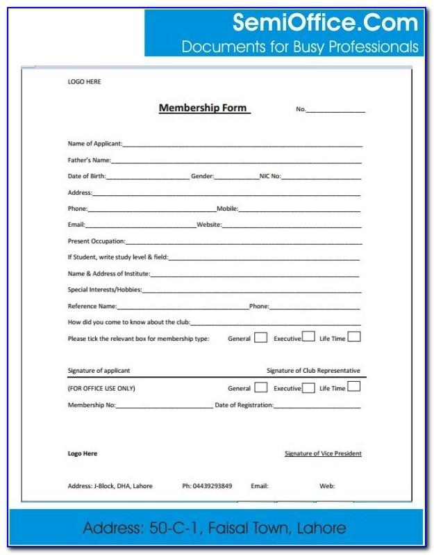 Member Application Form Template Word