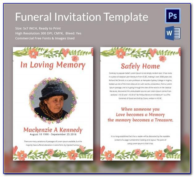 Memorial Folder Templates Free