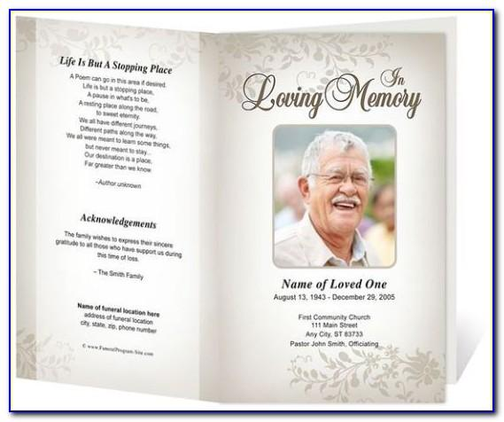 Memorial Service Pamphlet Template Free