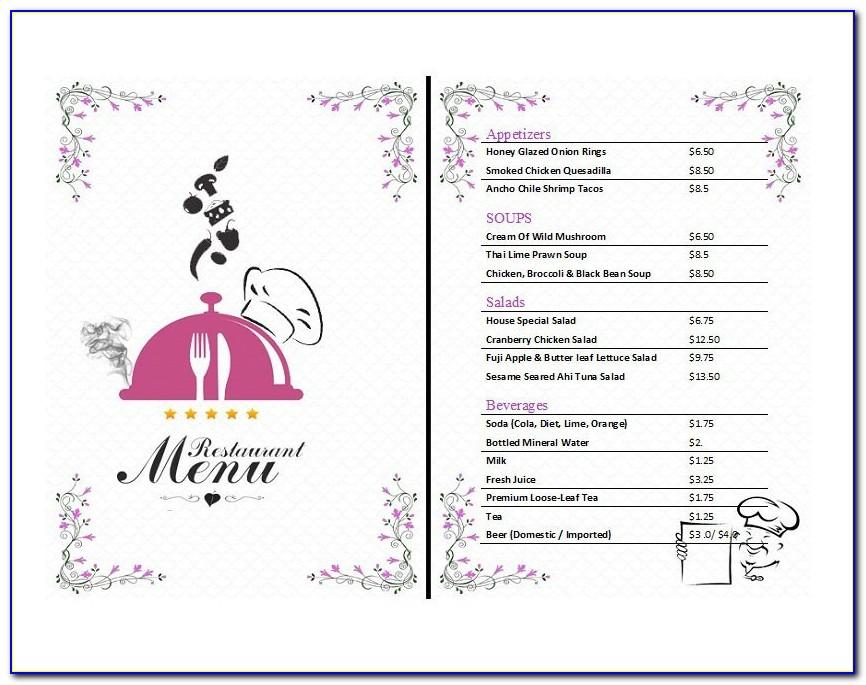 Menu Design Templates Word Free