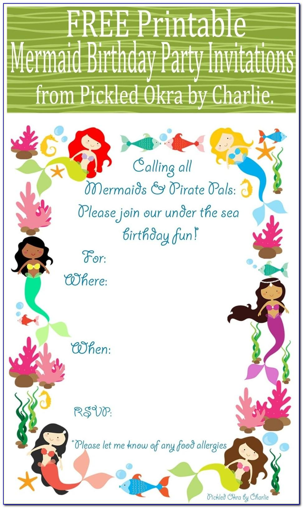 Mermaid Birthday Party Invitation Templates
