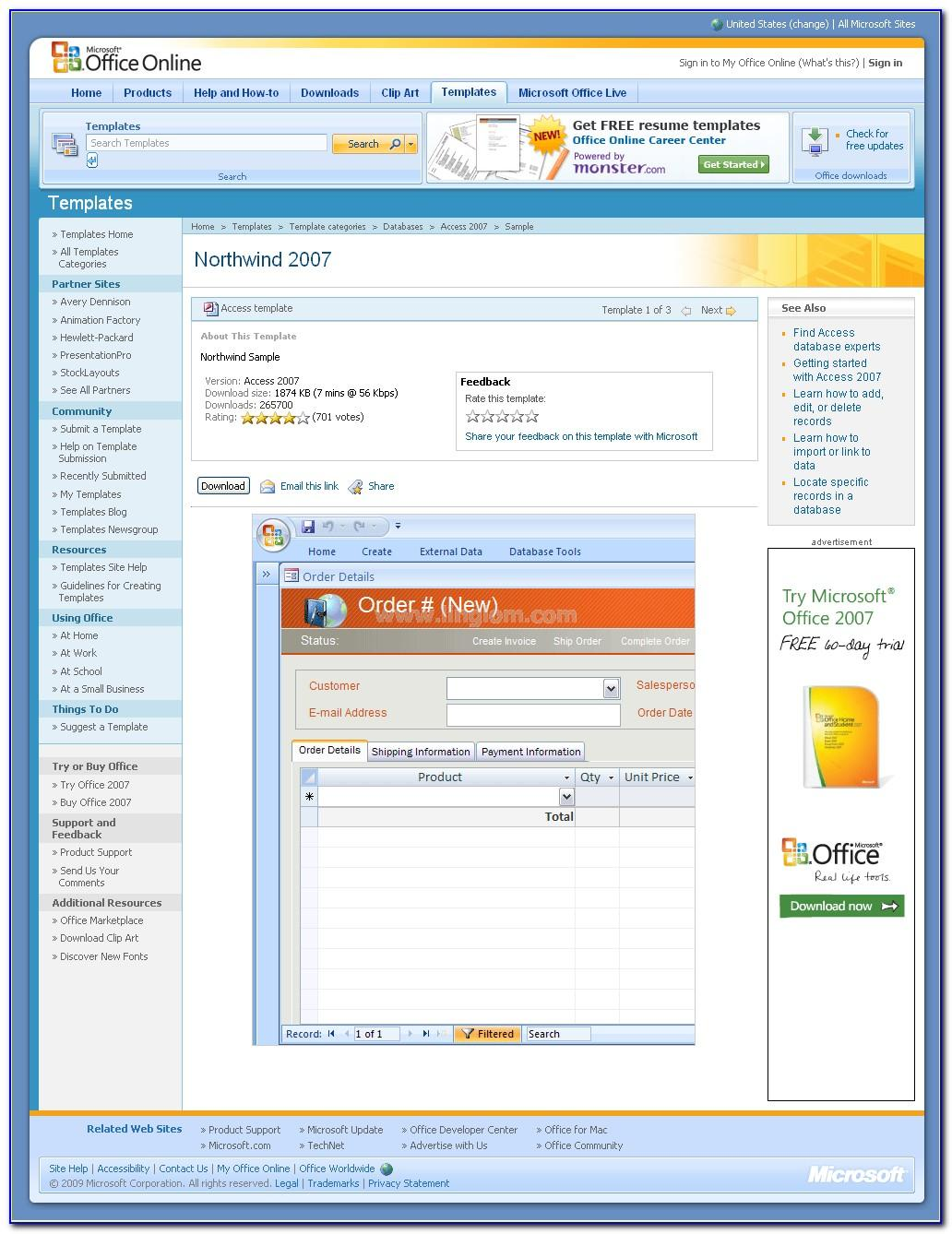 Microsoft Access 2007 Employee Database Template Free Download