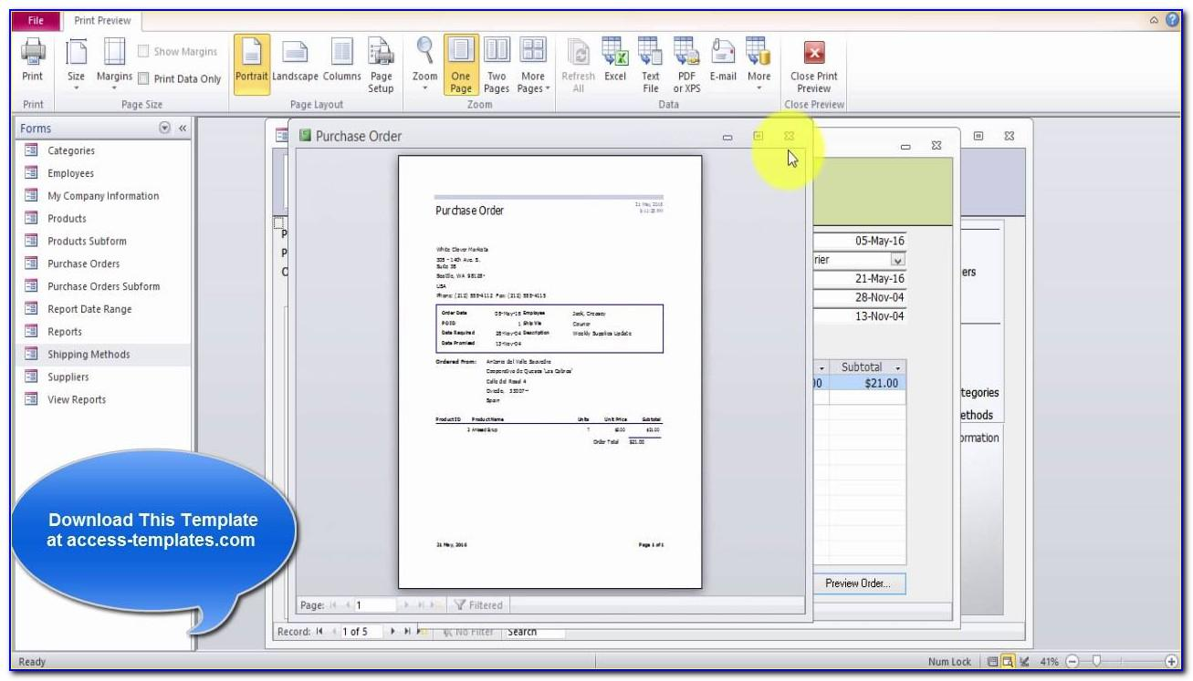 Microsoft Access 2013 Inventory Database Template