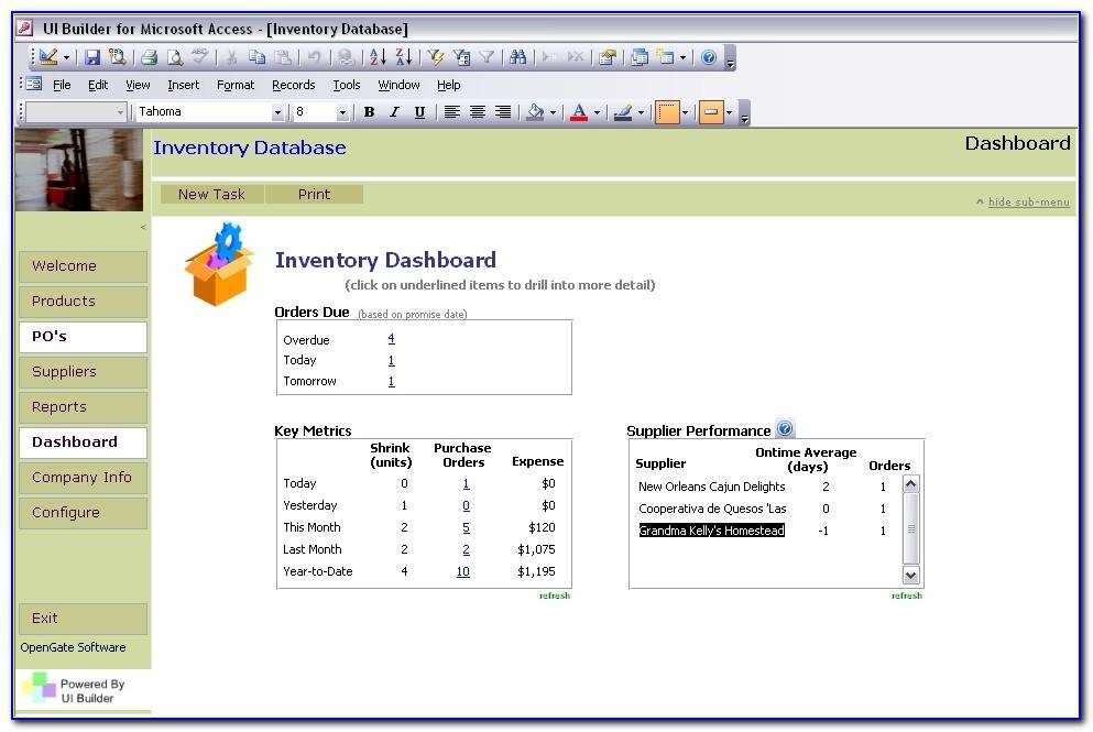 Microsoft Access Database Templates Inventory