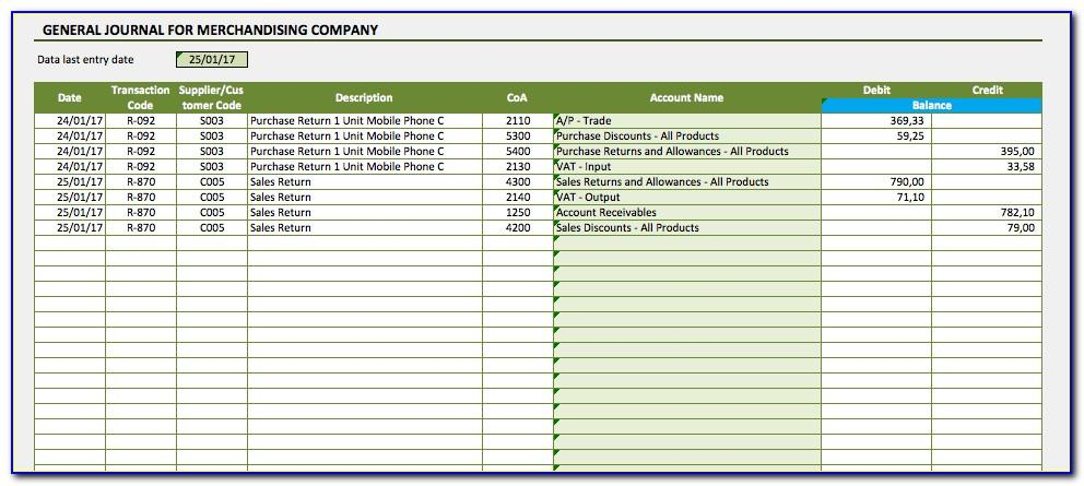 Microsoft Excel Accounting Journal Template