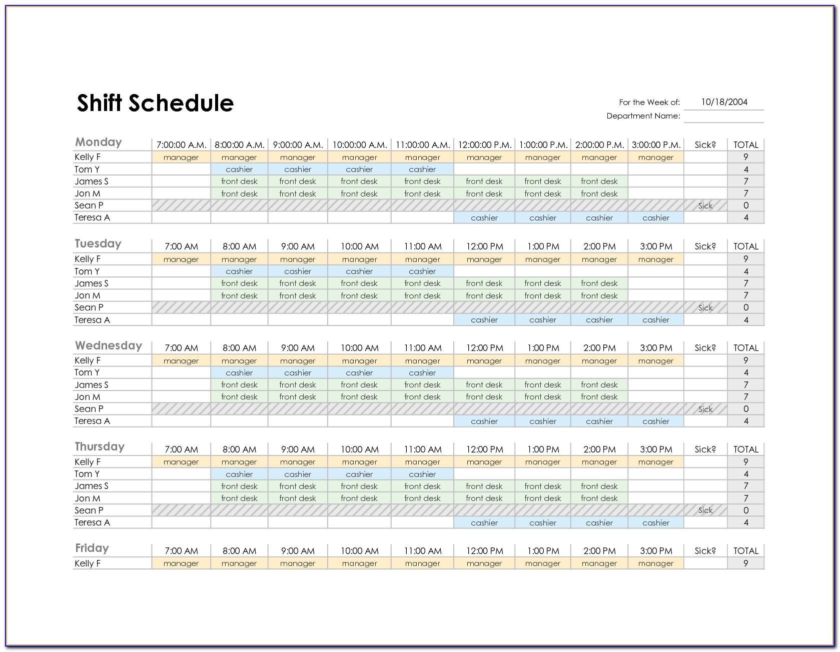 Microsoft Excel Employee Shift Schedule Template