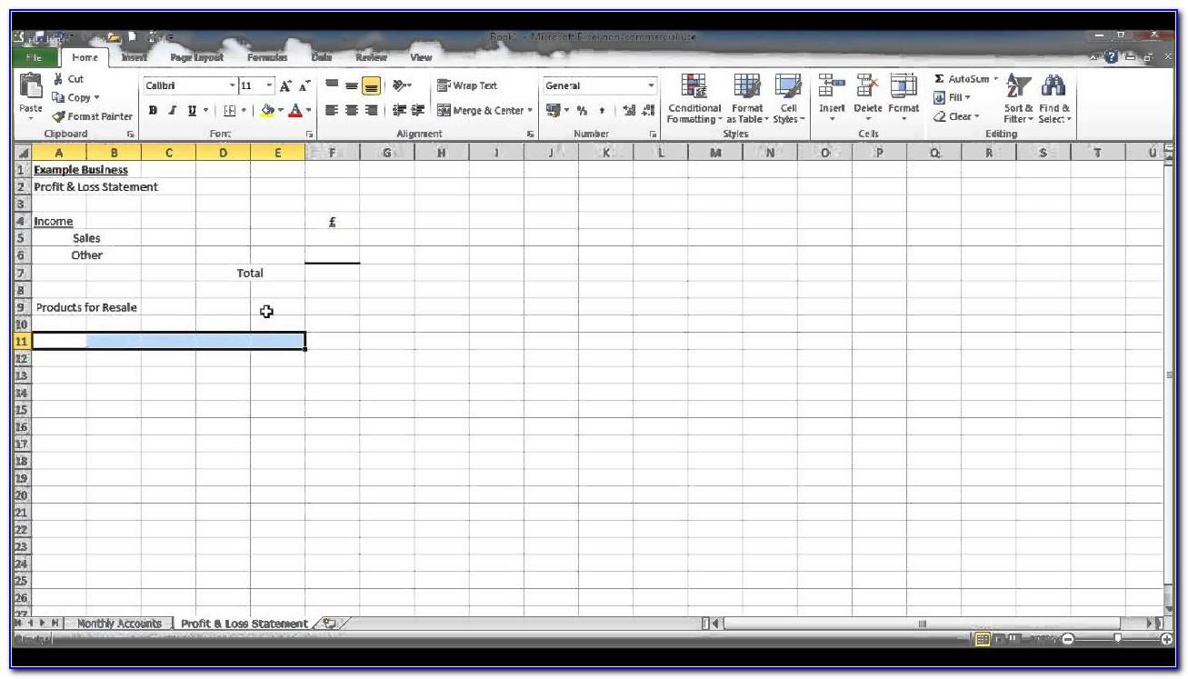 Microsoft Excel Spreadsheet Sample