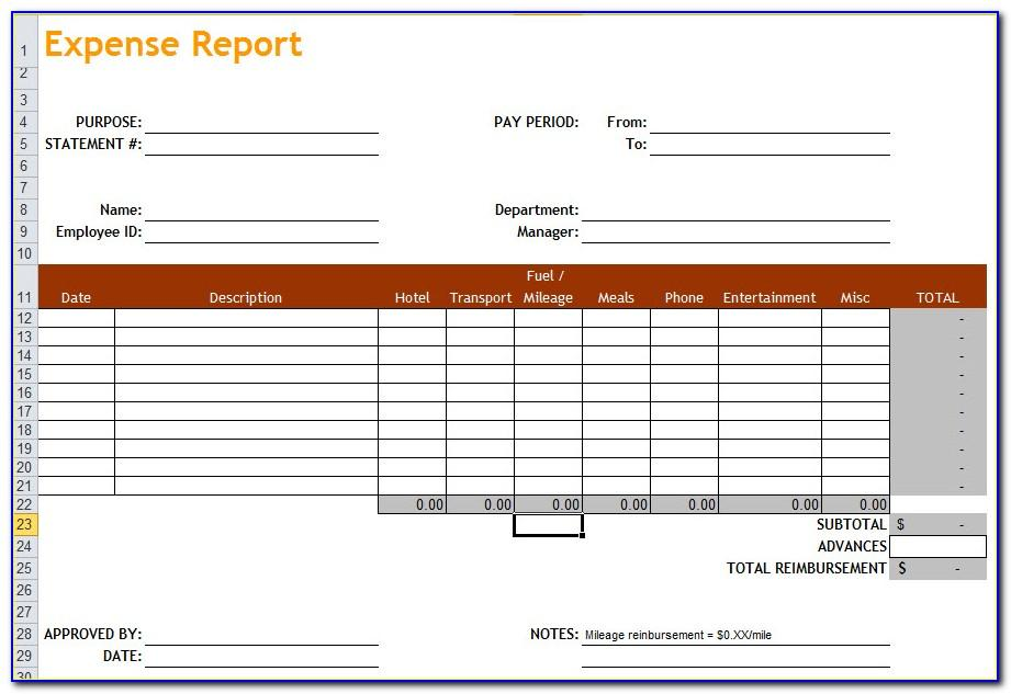 Microsoft Excel Template Expense Report