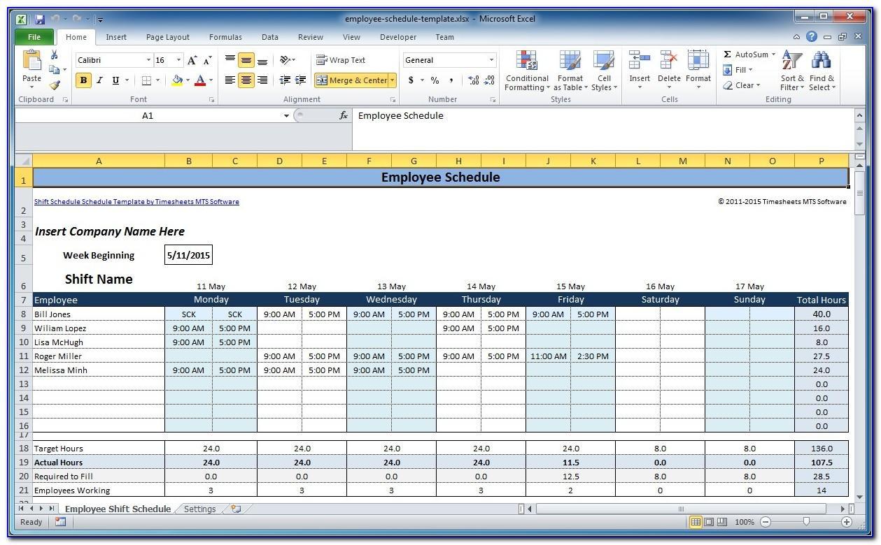 Microsoft Excel Weekly Employee Schedule Template