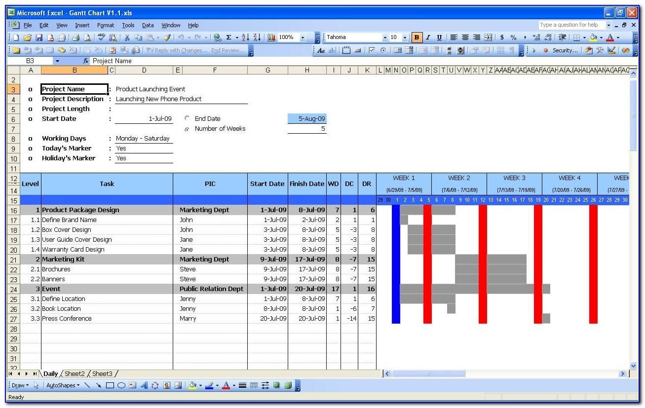 Microsoft Office 2010 Excel Gantt Chart Template
