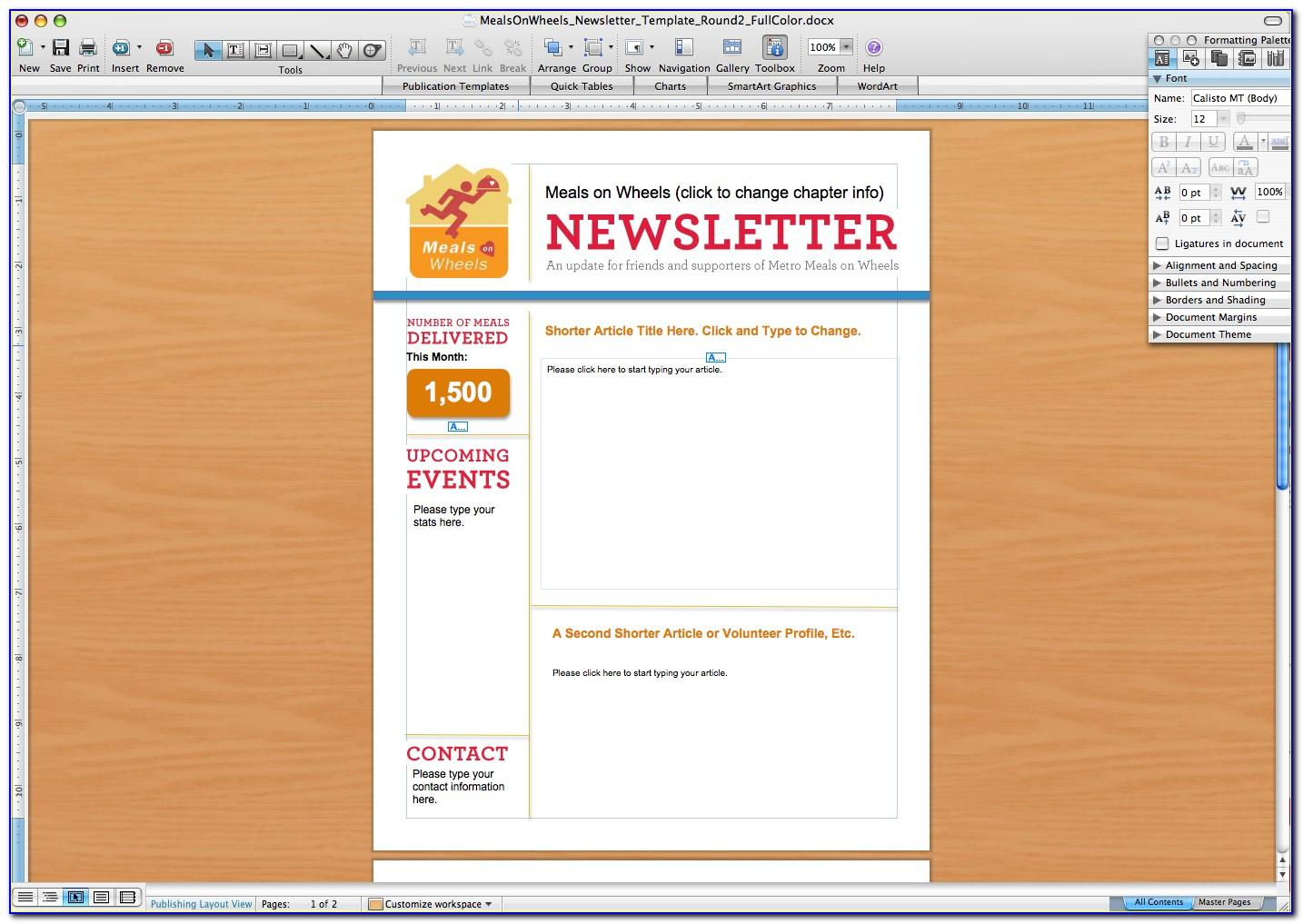 Microsoft Office 2010 Newsletter Templates