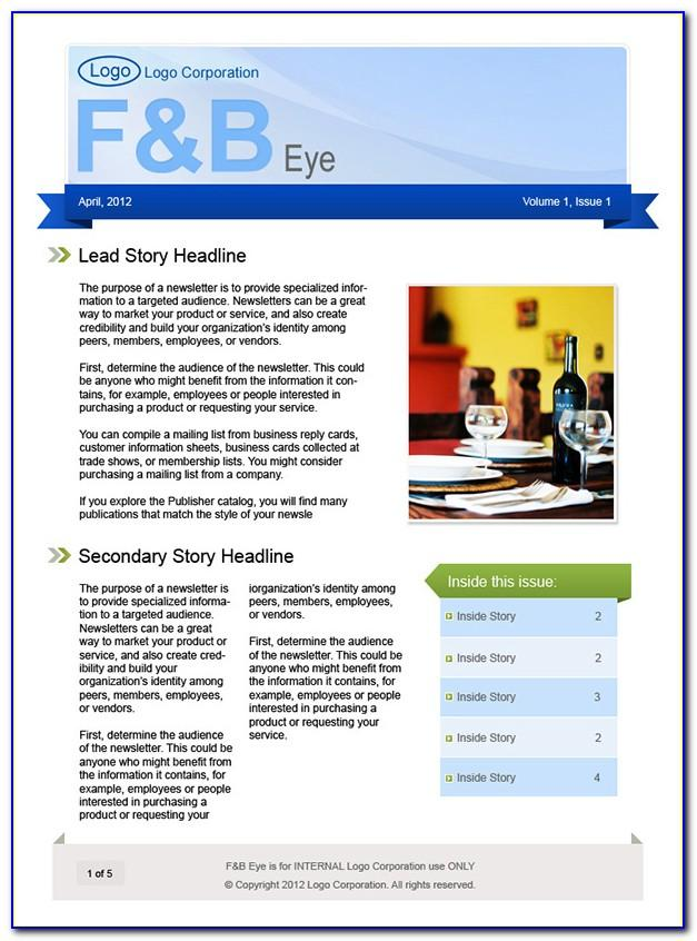 Microsoft Publisher Newsletter Templates 2012