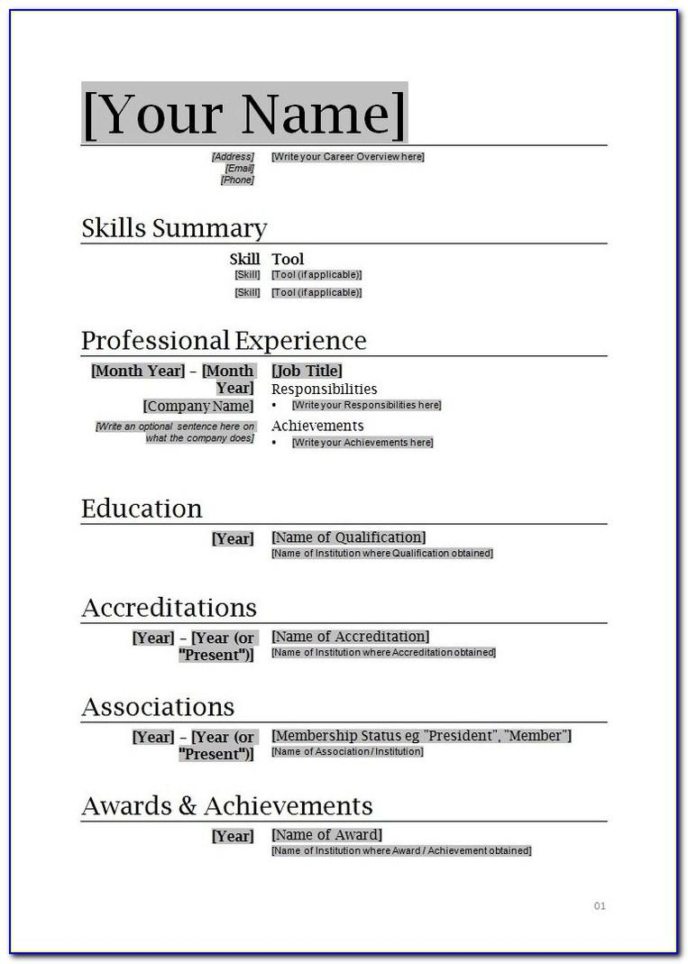 Microsoft Word 2010 Template For Resume
