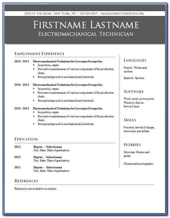 Microsoft Word 2010 Templates Resume
