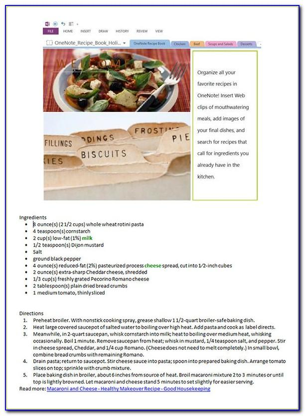 Microsoft Word Cookbook Template Free