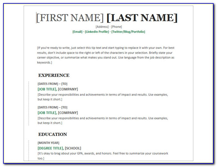 Microsoft Word Free Resume Templates 2003