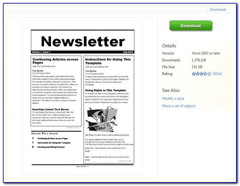 Microsoft Word Newsletter Templates Free 2007