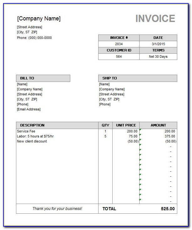 Microsoft Word Template For Invoice