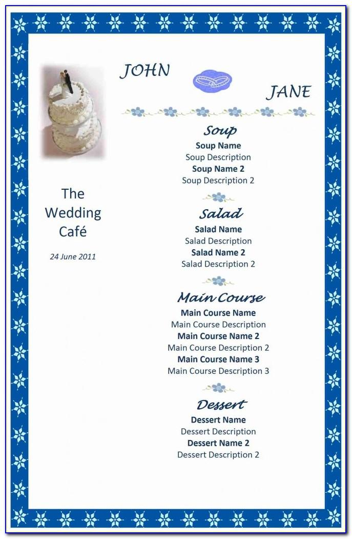 Microsoft Word Wedding Menu Template
