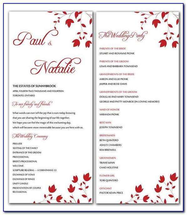 Microsoft Word Wedding Program Template Free