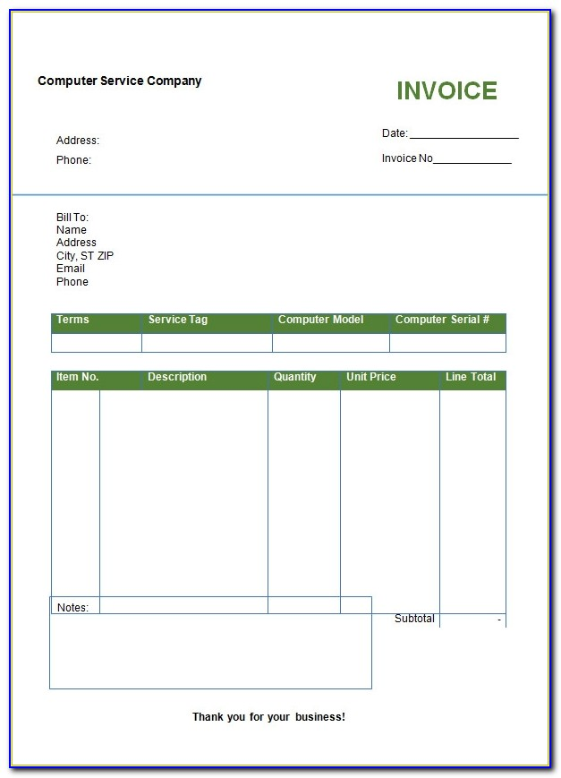Microsoft Works Service Invoice Template