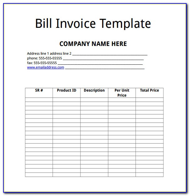 Microsoft Works Word Processor Invoice Template