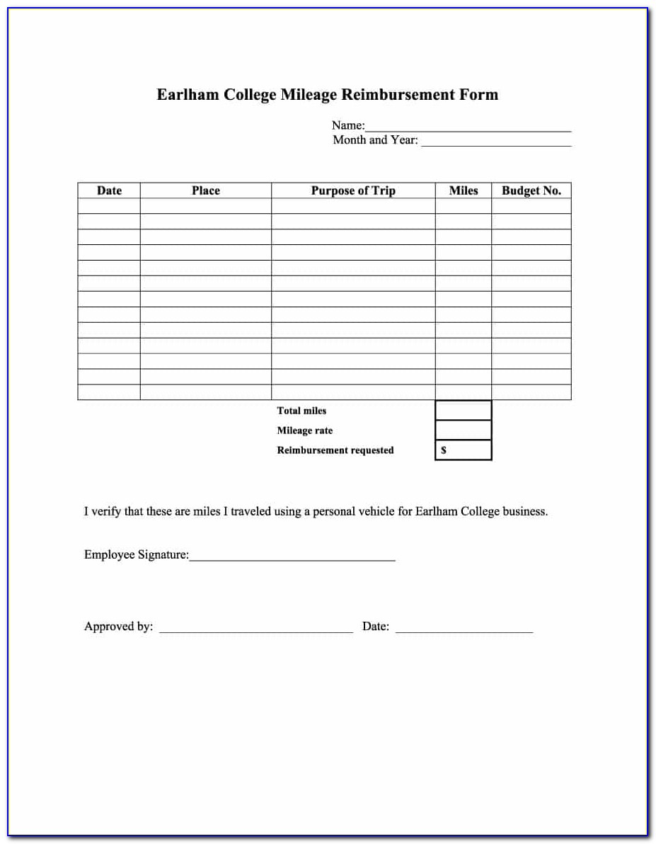 Mileage Claim Form Template Hmrc