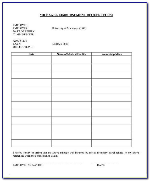 Mileage Claim Form Template Word