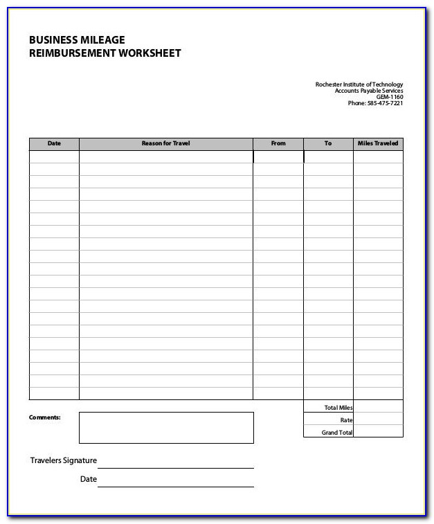 Mileage Form Template Excel