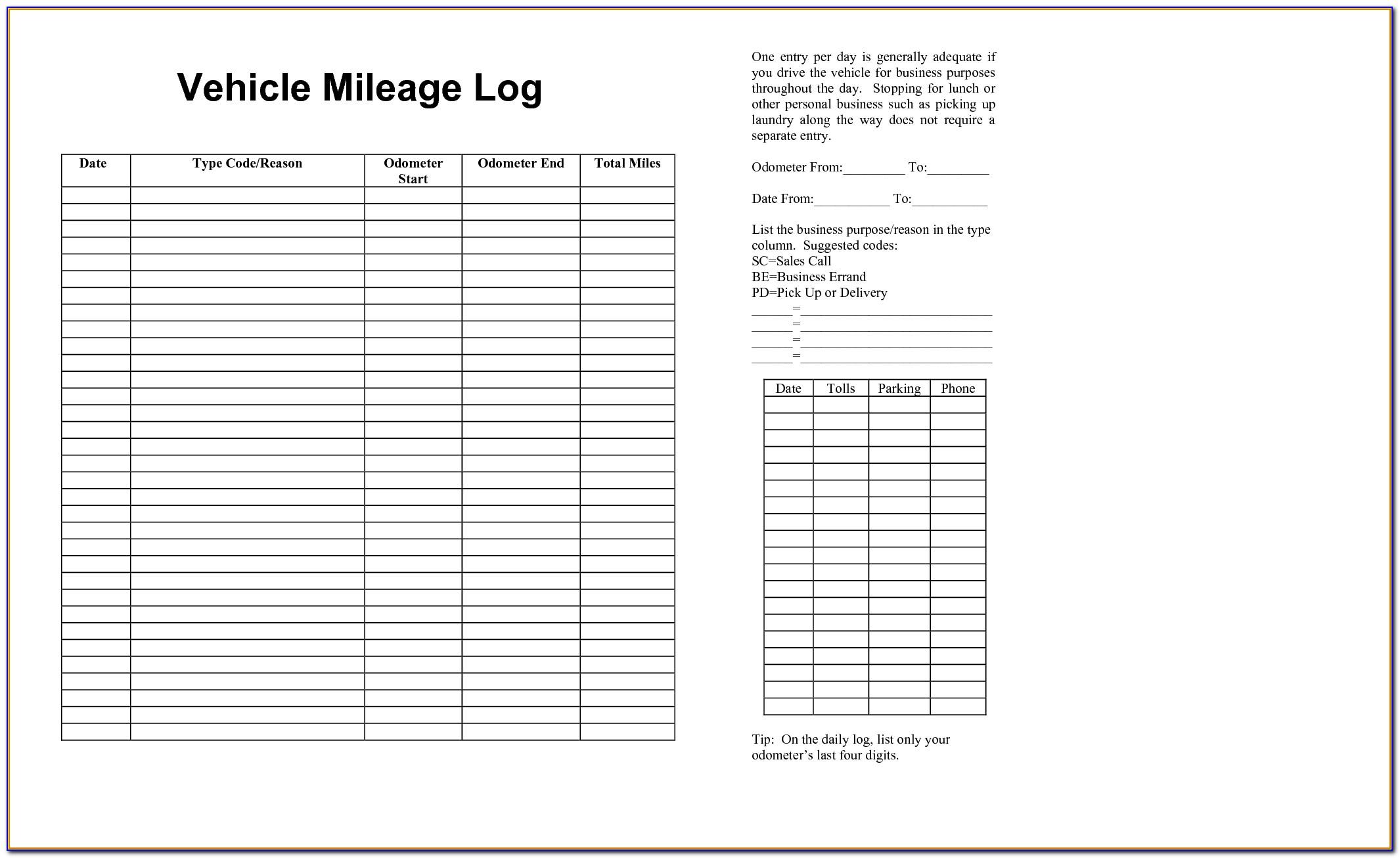 Mileage Log Book Sample