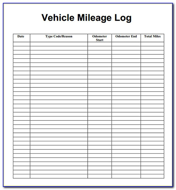 Mileage Log Book Template Uk