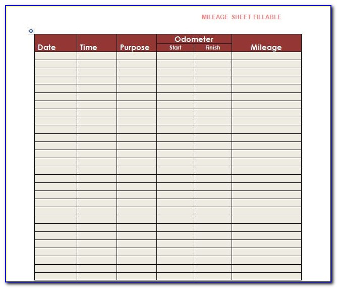 Mileage Log Excel Template Free