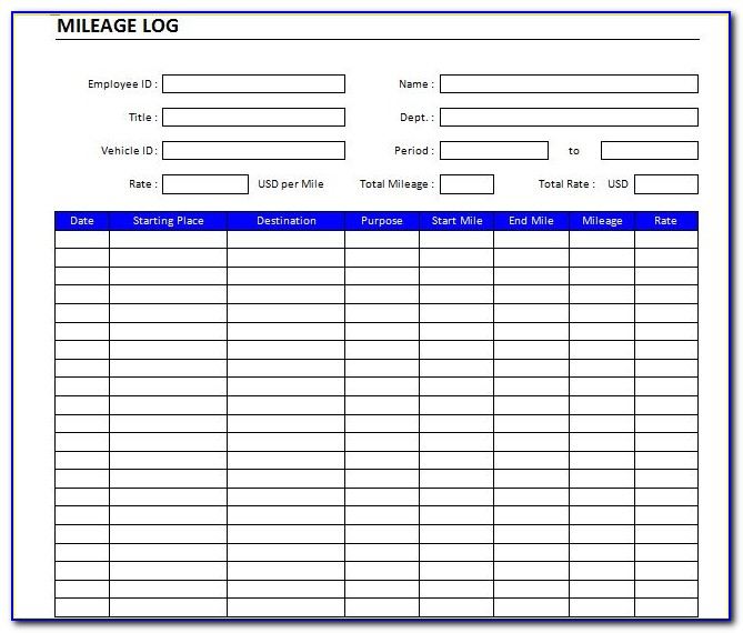 Mileage Log Printable Free