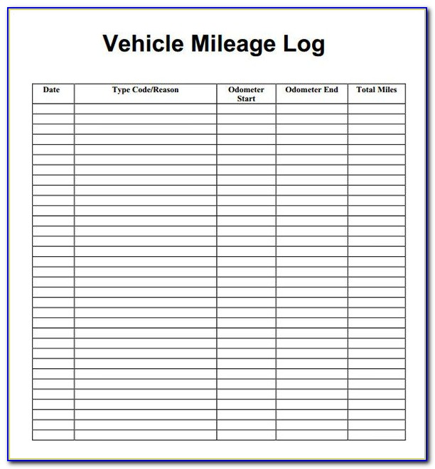 Mileage Log Template Free Uk