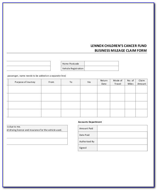 Mileage Reimbursement Form Template Excel