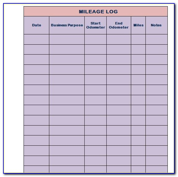 Mileage Tracker Template Free