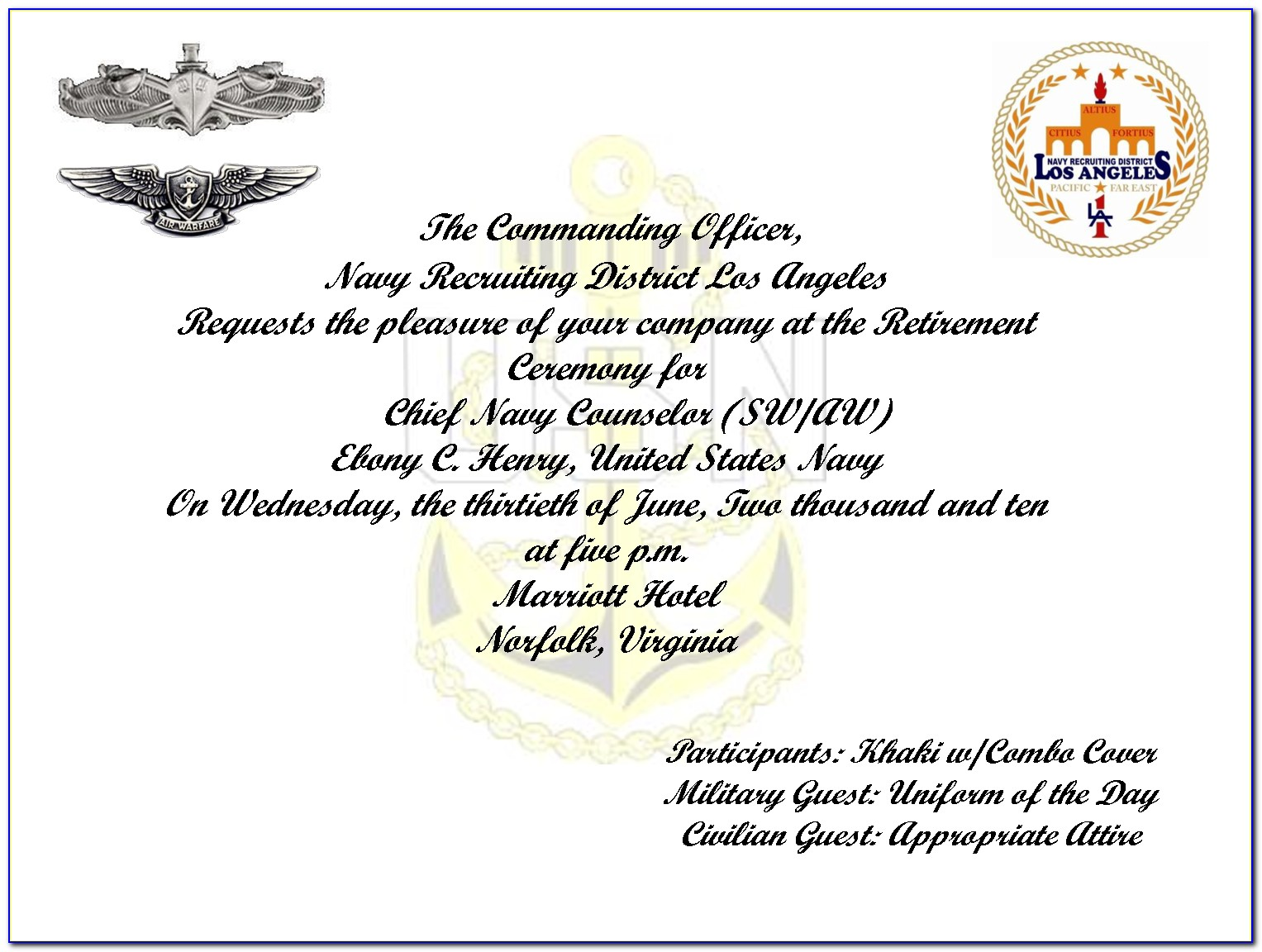 Military Retirement Party Invitation Template