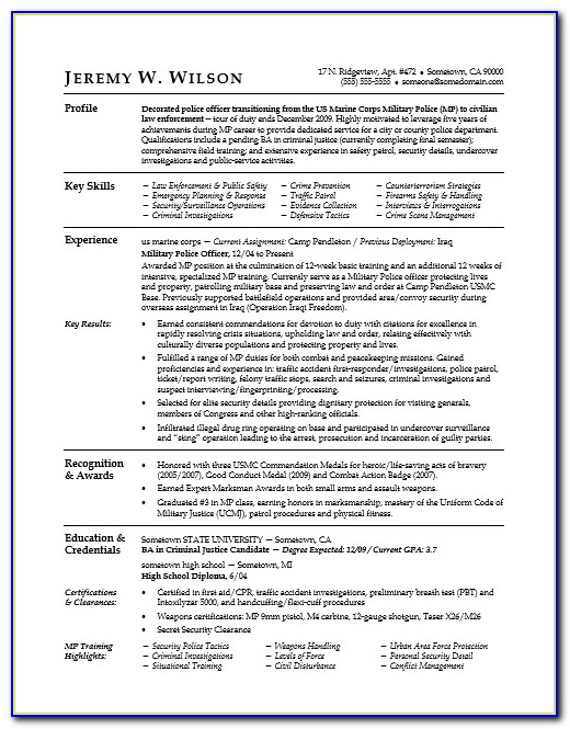 Military To Civilian Resume Examples Administration