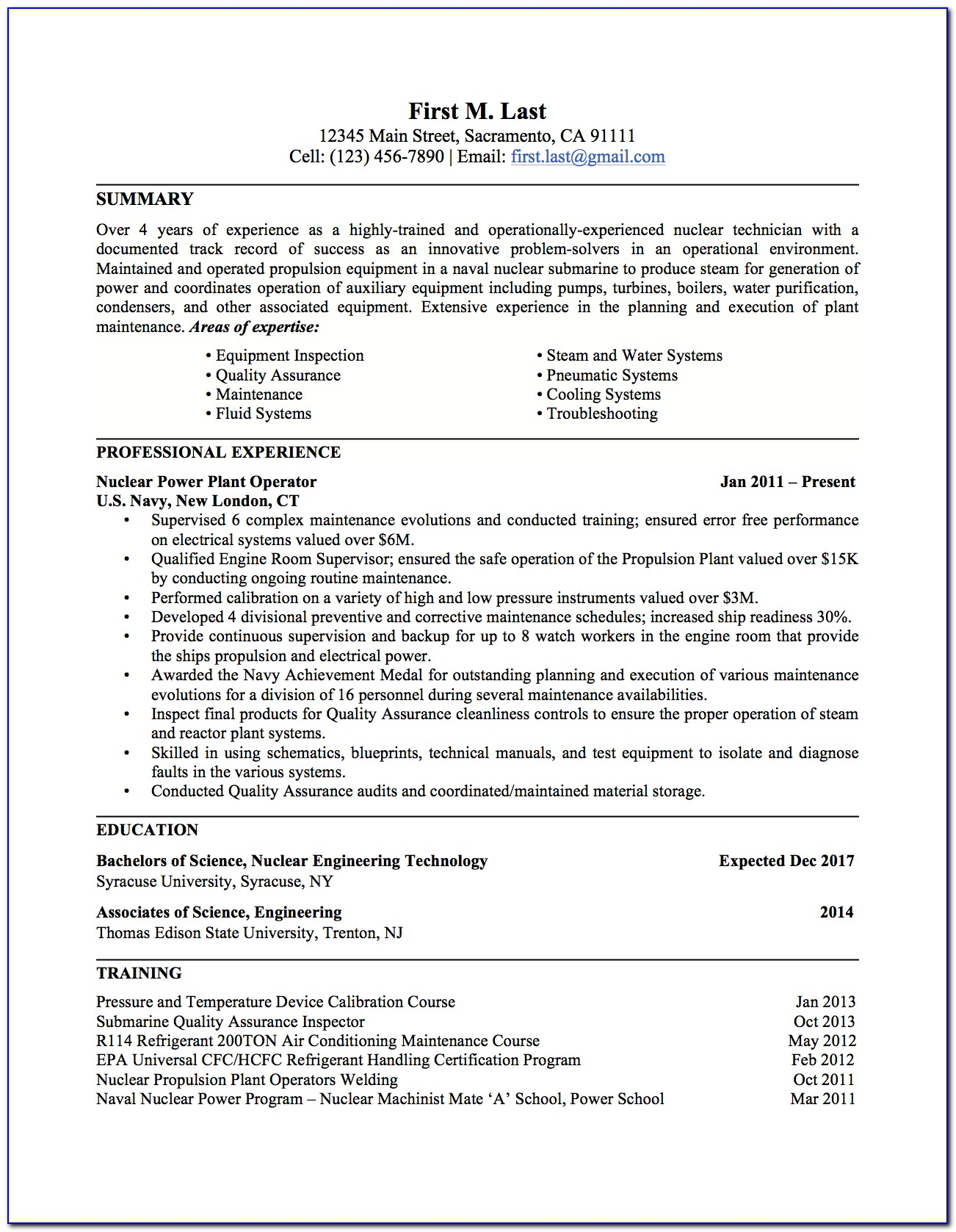 Military To Civilian Resume Examples Infantry