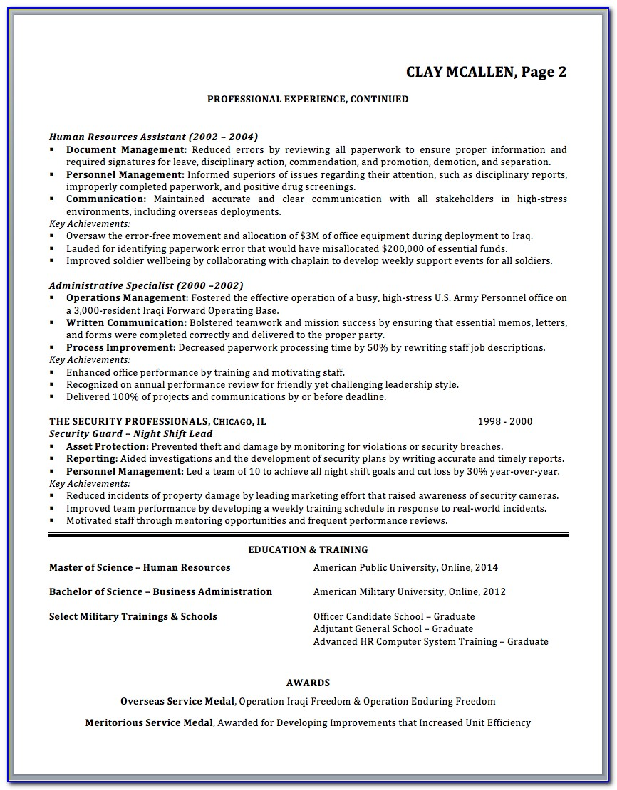 Military To Civilian Resume Examples Logistics