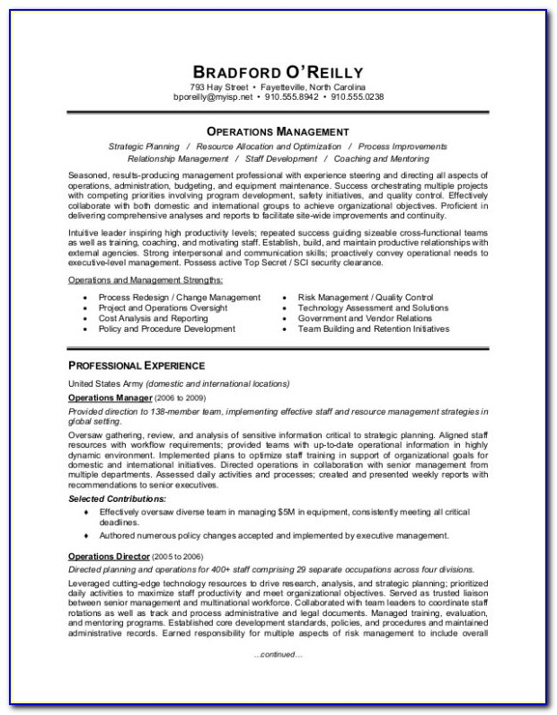 Military To Civilian Resume Format